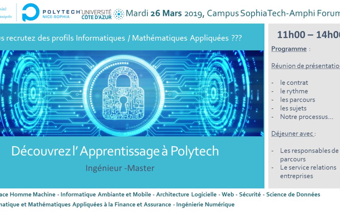 [Actu adhérent] Polytech Nice Sophia – Réunion de présentation : L'Apprentissage en Informatique et Mathématiques Appliquées – Modélisation