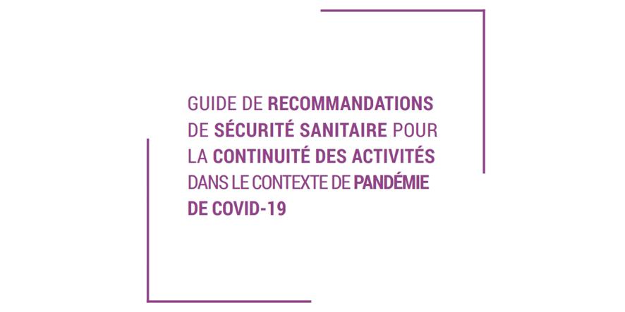 Guide de recommandations de sécurité sanitaire pour la continuité des activités du Numérique