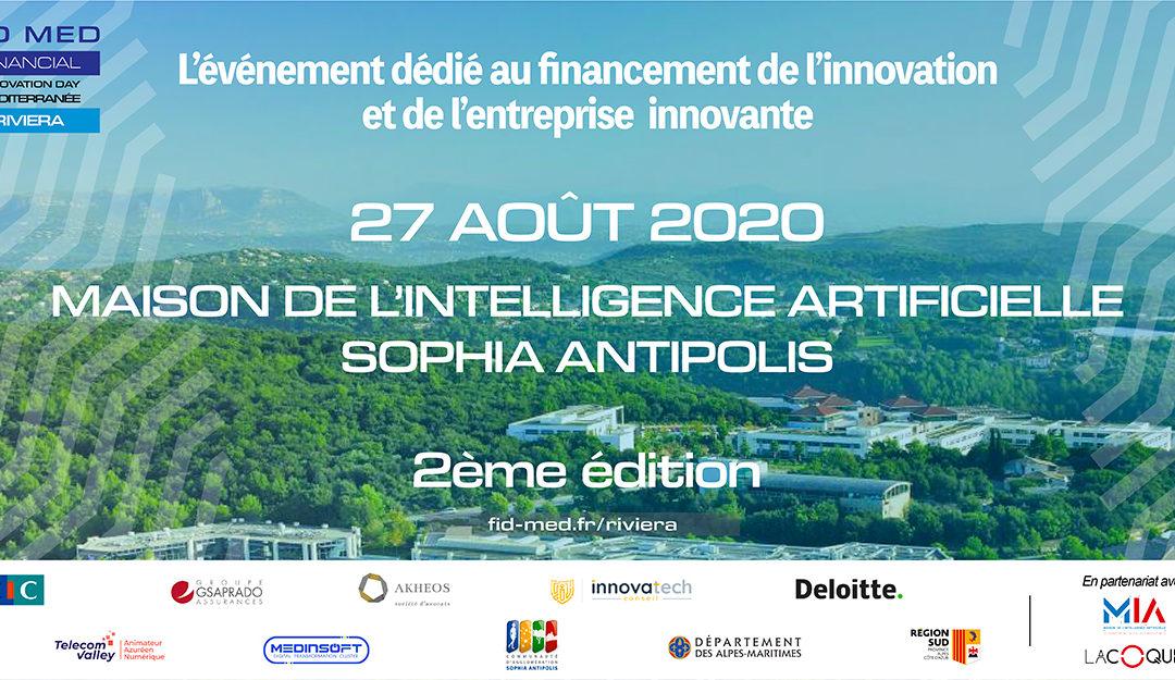[Communiqué] Le 27 Août 2020, 2ème édition du Financial Innovation Day Méditerranée, Maison de l'Intelligence Artificielle – Sophia Antipolis
